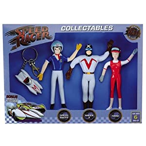 Speed Racer Bendable Action Figure Set with Keychain