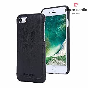 Sunny Fashion Pierre Cardin Genuine Leather Luxury Back Case Cover for Apple iPhone 7 - Black