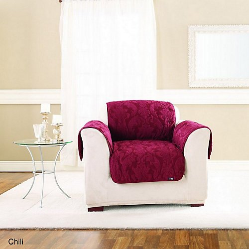 Sure Fit Matelasse Chair Throw, Espresso front-733596
