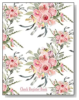 Pink Floral Check Register Book - A beautiful book with wide lines to easily track all your checking account activity without having to write tiny and cram everything into those little check register booklets.