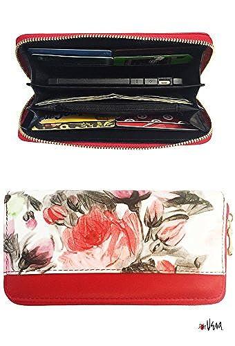 05. Vera Women's Zip Around Leather Organizer Clutch Wallet