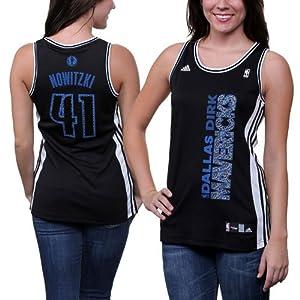 Dallas Mavericks Adidas NBA Dirk Nowitzki #41 Ladies Static Jersey (Black) by adidas