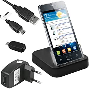 mumbi USB Dock Samsung i9100 Galaxy S2 SII / Samsung i9105P Galaxy S2 SII Plus Dockingstation / Tischladestation + USB Datenkabel + Netzteil + Adapter