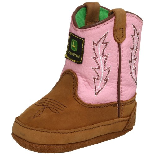 John Deere 185 Western Boot (Infant/Toddler),Tan/Pink,4 M US Toddler
