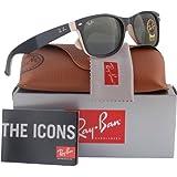 Ray-Ban RB2132 New Wayfarer Sunglasses Shiny Black/Beige (875) RB 2132 55mm (Color: Black, Tamaño: Large)