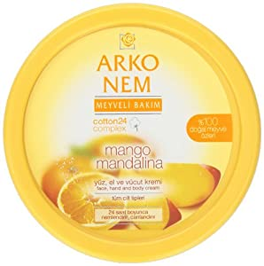 Arko Nem Mango and Mandarin Cream Face Hand and Body Cream, 300 Gram