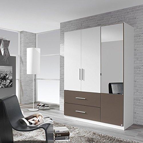 Kleiderschrank weiß / grau 3 Türen B 136 cm Schrank Drehtürenschrank Spiegelschrank Wäscheschrank Kinderzimmer Jugendzimmer online kaufen