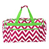 New Fashion Trendy Luggage D22 601 Duffle Bag Chevron Pink Green - 08 SWT