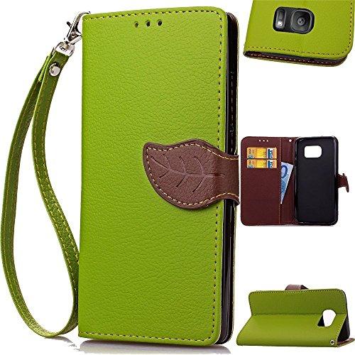 Galaxy S7 edge 手帳型 ケース + ストラップ付 [ docomo SC-02H / au SCV33 ギャラクシーS7 エッジ SIMフリー 対応 ダイアリー ] Leaf Design Diary Case ( スタンド 財布型 ICカード収納 / 画面保護 マグネットフラップ ) PU&TPU素材 ソフトカラーデザイン【 Green × Brown (緑&茶) 】…