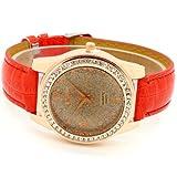 Conbays Red Band Brown Round Dial Crystal Girls Quartz Wrist Watch Women Lady Gift Luxury