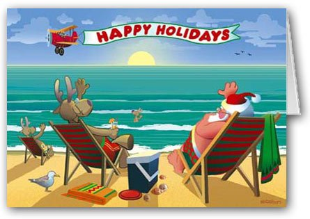 Beachside Enjoyment Christmas Card 12 cards/