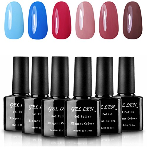 Gellen Soak Off UV Gel Nail Polish Gift Set - 6 Pure Colors, ( Sky Blue, Royal Blue, Cadmium Red, Pink Daisy, Rust Red, Chestnut Brown), 10ml Each (Nail Polish Blue Set compare prices)