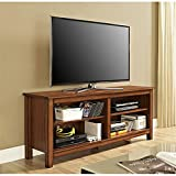 "WE Furniture Wood Veneer TV Stand, 58"", Rustic Brown"