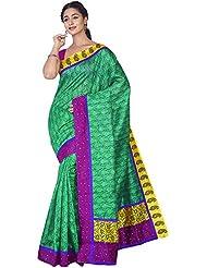 Aadarshini Women's Raw Silk Saree (110000000448, Green & Pink)