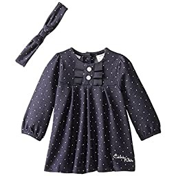 Calvin Klein Baby Girls\' Denim Dress with Headband, Blue, 18 Months