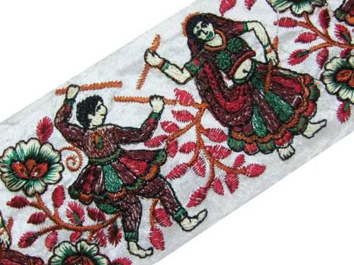 Wide White Ribbon Dancing Man Women Thread Embroidery Fabric Trim 3 Yd Lace India