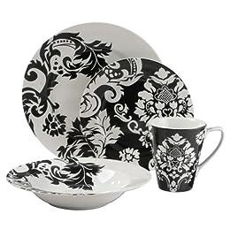 Product Image Damask 16-pc. Dinnerware Set - Black/ White