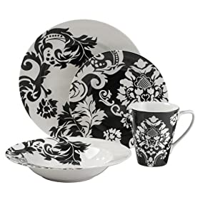 Damask 16-pc. Dinnerware Set - Black/ White