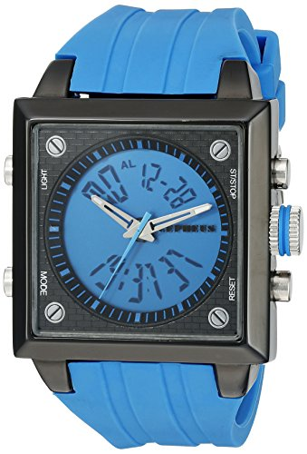 Cepheus Men's Quartz Watch with Blue Dial Analogue - Digital Display and Blue Silicone Strap CP900-633A