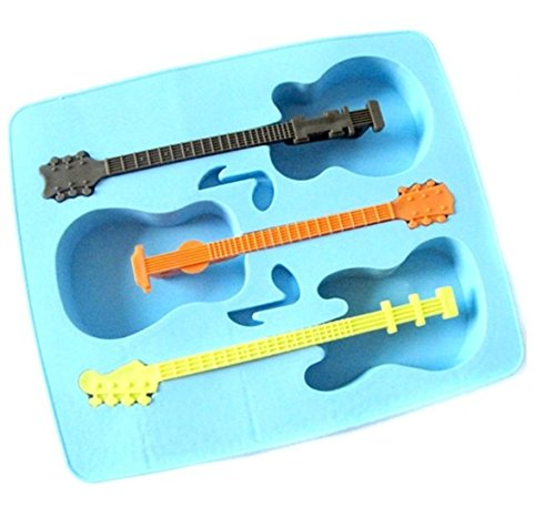 SMO Guitare en forme Ice Cube Tray Avec trois Agitateurs Gel Mold Ice Maker Mould