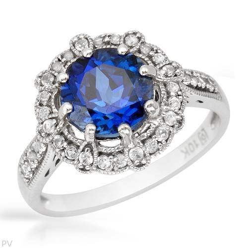 Ring With 2.80ctw Created Sapphires in White Gold (Size 6.5)