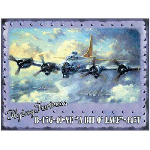 Flying Fortress B-17 Bomber Bit o Lace British WWII Metal Sign 16 x 12