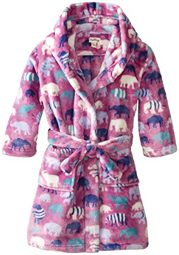 Hatley Little Girls' Fuzzy Fleece Robe - Patterned Elephants, Purple, Large front-944308