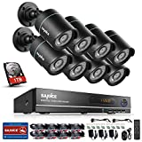 SANNCE 8CH AHD 1080N DVR Security Camera System with 1TB Hard Drive and (8) HD 1280TVL Outdoor CCTV Cameras with IP66 Weather-Proof Metal Housing and Motion Detection