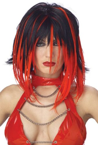 Black/Red Shag Wig