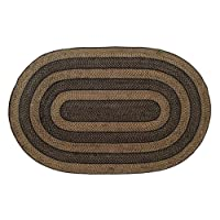 Country Style Black Tan Jute Rug Oval 60x96