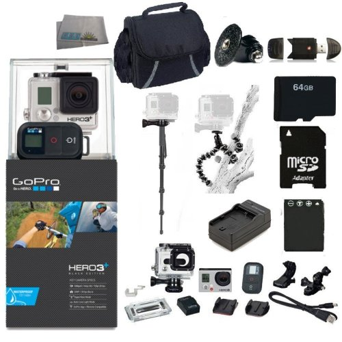 GoPro HERO3+ Black Edition Camera Kit. Includes: 64GB Micro SD Card + Adapter, Card Reader, Replacement Battery, Charger, Case, Gripster Tripod & Monopod