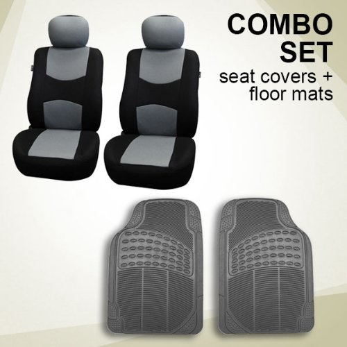 FH GROUP FH-FB051102+V16404FRONT Combo Set Gray Airbag Ready Pair Bucket Seat Covers + Gray Vinyl Floor Mats (Tall Bucket Seat Covers compare prices)