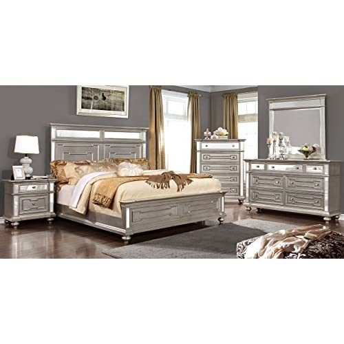 Esofastore New Contemporary Style Bedroom Furniture 4pc Set Queen Size Bed Dresser Mirror Nightstand Champagne Silver Finish Turned Legs Bedframe