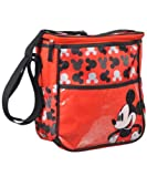 Disney Mickey Mouse Logo Print Red Mid Sized Diaper Bag, Red
