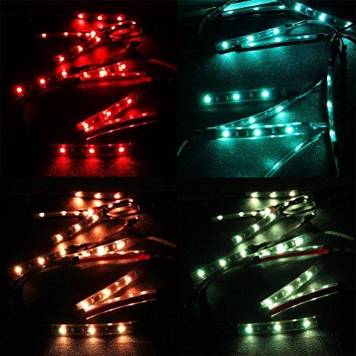 AUDEW 12psc LED Néon Flexible Strips Décoration Lumières Eclairage Kit Pour Moto Vélo
