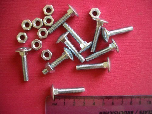 M6 x 50mm Coach Carriage Bolts With Nuts x 10