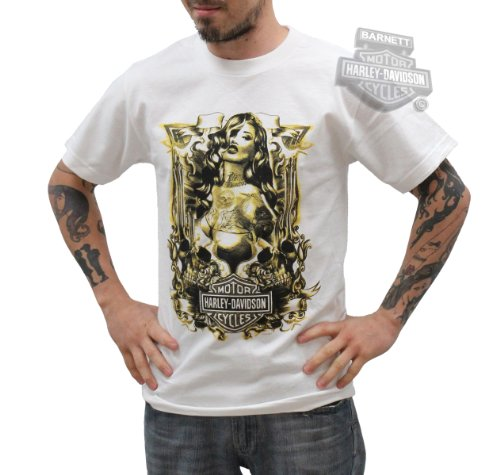 Harley-Davidson Mens Machismo Pinup with Skulls White Short Sleeve T-Shirt
