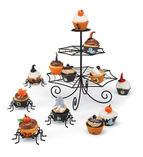 Set Of Black Metal Spider Cupcake Holders