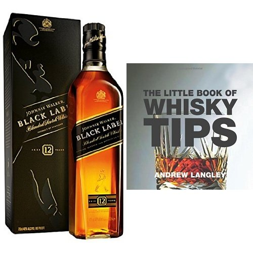 discount duty free Johnnie Walker Black Label Blended Scotch Whisky and The Little Book of Whisky Tips