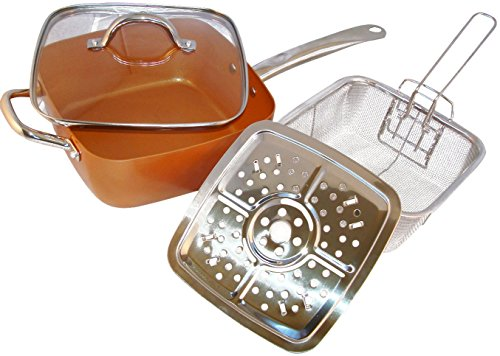 Copper Pan, 5 Piece. Square Pan, Glass Lid, Steamer, Frying Basket, Steamer Stands, Induction Base Non Stick, Dish Washer Safe (Copper Grill Pan compare prices)