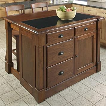 Spectacular  just before acquire Home Styles Aspen Kitchen Island with Drop Leaf Granite Top and Two Stools Rustic Cherry Finish Home Styles