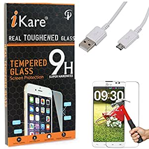 iKare Tempered Glass for LG G Pro Lite D684, Tempered Screen Protector for LG G Pro Lite D684 + Data Sync and Charging Cable