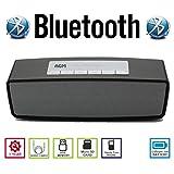 AGM Bluetooth スピーカー ステレオ YOUTUBE視聴可 手のひらサイズ ハンズフリー テレホン 電話 LINE AUX IN USBメモリー MICRO SD 安心の基本機能一年メーカー保証 日本語説明書付 S815 (ブラック)