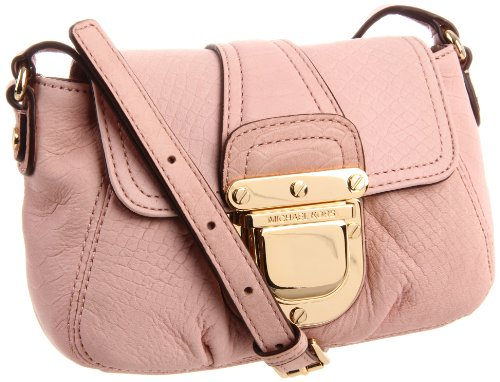 Michael Kors Charlton Croc Embossed Leather Crossbody Bag Blush