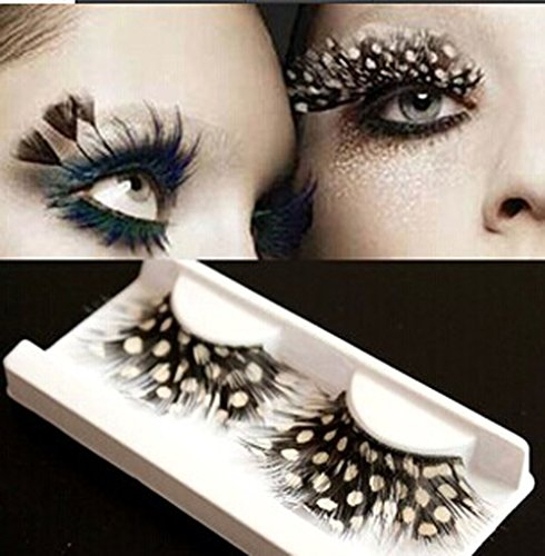 Stage Performances Exaggerated White Dots Feather False Eyelashes 5 Pairs (White Feather Lashes)