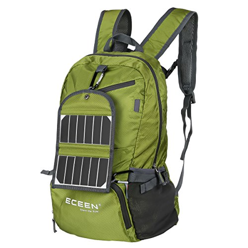 ECEEN® Solar Powered Hiking Daypacks - Foldable Backpack with 3.25 Watts Solar Charger - Small, Lightweight, Water Resistant, Unisex, Folds Up into Carry Pouch - Power Cell Phones and More