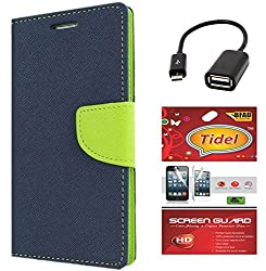 Tidel Premium Table Talk Fancy Diary Wallet Flip Cover Case for Samsung Galaxy J7 (Blue) With Tidel Screen Guard & Micro OTG Cable