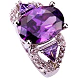 Amybria Jewelry Women's Oval Cut Amethyst & White Sapphire Gems Ring Silver Size T 1/2