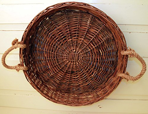 Large Round Natural Willow Vine Tray with Rope Handles - 21