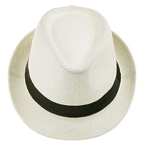 Y-BOA - Chapeau Panama de paille- Unisexe - Eté - Voyage/Plage/ Soleil - Style Fedora Trilby - Femme/ Homme Moderne - Casual (Crème)